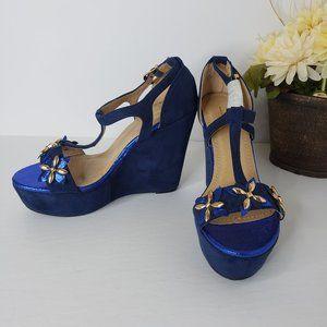 Bakers Blue Embellished Valentin Wedges Size 9